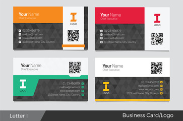 Letter I logo corporate business card