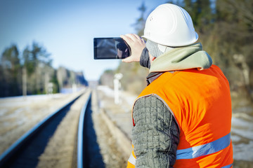 Railway engineer filmed on the railway