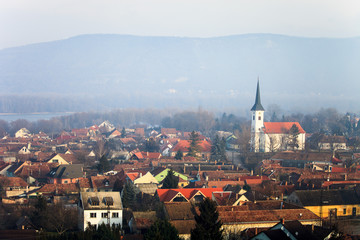 View to Esztergom and mountains. Hungary landscape