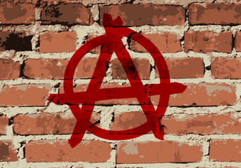 Anarchy sign on brick wall texture, vector