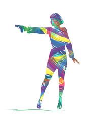 silhouette astratta di donna con la pistola