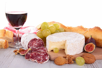cheese, salami and red wine