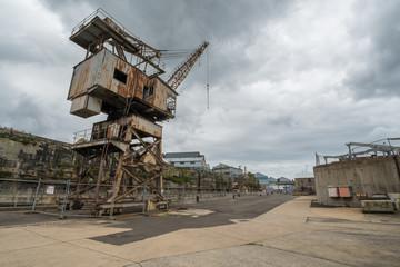 Rusty disused crane on Cockatoo Island docks
