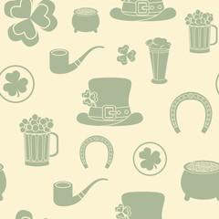 Seamless background. St. Patrick's attributes. Retro colors