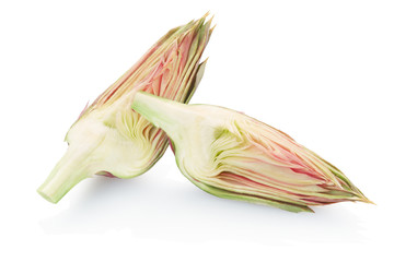 Artichoke slices on white, clipping path