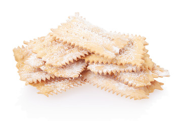 Chiacchiere, italian Carnival pastry on white, clipping path