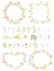 Набор свадебный графическим цветочным рамы и цветок набор