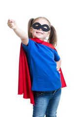 child girl plays superhero