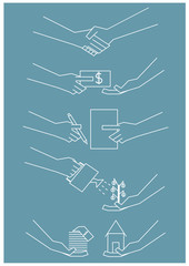 vector set of many hand in business and financial concept