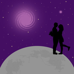 Lovers on globe earth