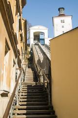 Historic funicular in Zagreb, Croatia