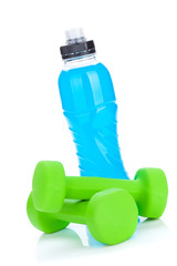 Two green dumbells and water bottle