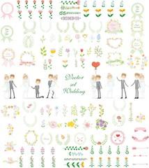 Набор свадебный набор графики-жениха и невесты, венок, цветы