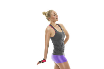 Attractive happy woman with a fit toned body