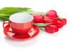 Obrazy na płótnie, fototapety, zdjęcia, fotoobrazy drukowane : Fresh red tulips with coffee cup