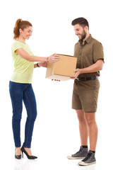 Smiling woman got a delivery