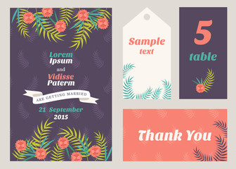 Vector design template of wedding invitation