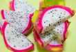 Close up of sliced Dragon fruit (Pitaya) on plate