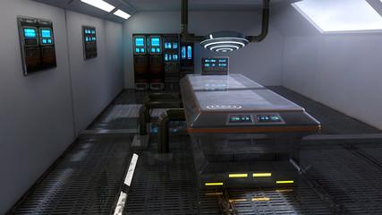 Futuristic room architecture laboratory