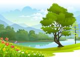 Lake surrounded by lush greenery