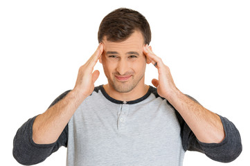 Headshot stressed man upset frustrated on white background