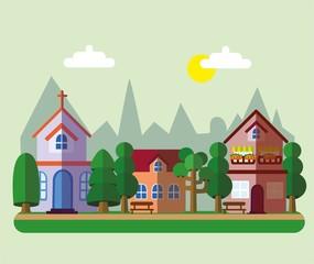 Фон Здания в стиле малого бизнеса плоской конструкции - Дома