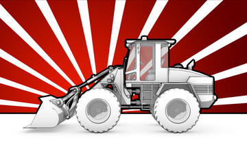 Black and white ink bulldozer pop art