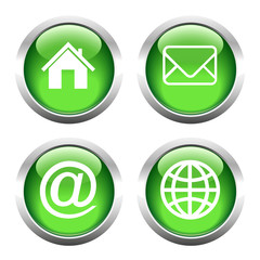 Set of buttons for web, email, globe, envelope, home. Vector.