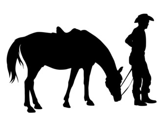 cowboy wit his horse silhouette - vector