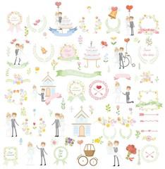 Набор свадебных элементов шаблона дизайна для пригласительных