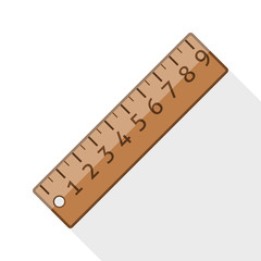 Ruler icon with long shadow on white background