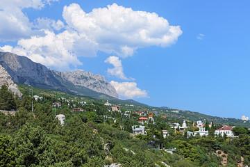 Simeiz settlement and clouds over the mountain Ai-Petri, Crimea