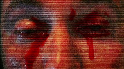 Horror Clip Bleeding Eyes and TV Static