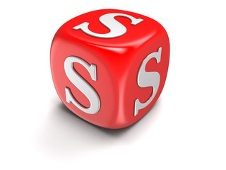Dice with letter S (clipping path included)