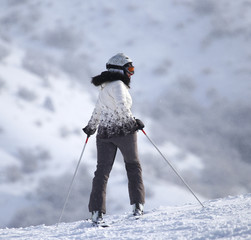 woman on the slope.Skiing.