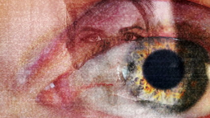 Abstract Horror Static Light Leak Eye and flashes of female