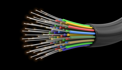 Optic fiber cable (clipping path included)
