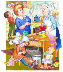 Watercolor illustration. Family in kitchen preparing meal