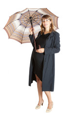 pregnant woman (9 months) with a open umbrella, isolated