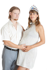 young pregnant woman with her happy husband