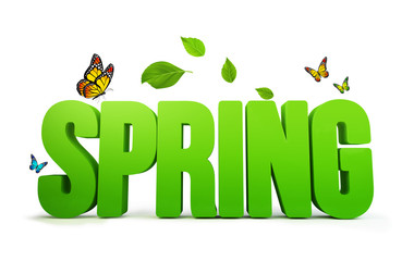 3D Spring Word Isolated in White Background with Clipping Paths