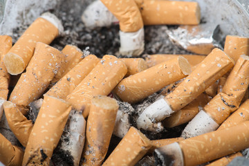 extinguished cigarette closeup