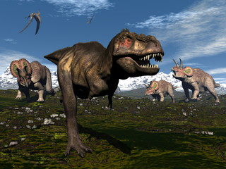 Tyrannosaurus rex attacked by triceratops dinosaurs - 3D render