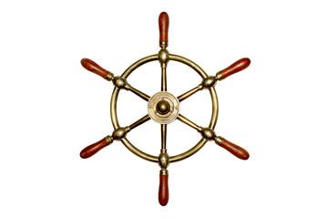 Isolated Brass Ship Wheel