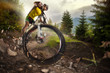 Sport. Mountain Bike cyclist riding single track - 78274219