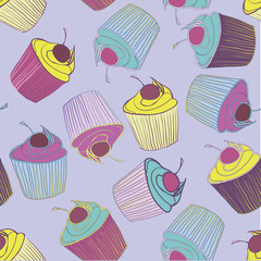 hand drawn colorful cupcakes seamless pattern