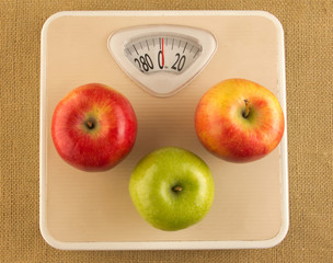 weighing scale with apples