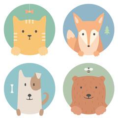 Animal set. Portrait in flat graphics. Cat, fox, dog and bear