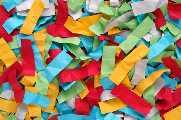 Crumpled colorful pieces of paper