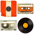 Set of retro compact cassettes and vinyl albums - 78275414